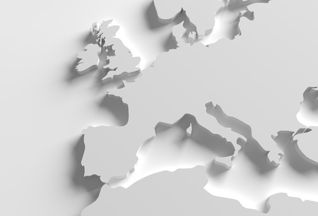 Photo pour Europe 3D Map Illustration. Grayscale Elegant 3D Europe Shape. - image libre de droit