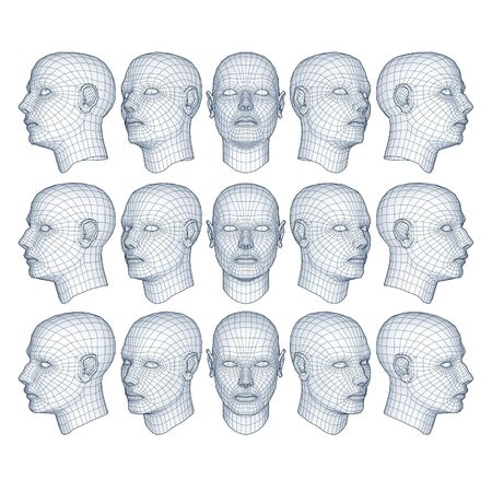 Photo for male head model in wireframe - Royalty Free Image