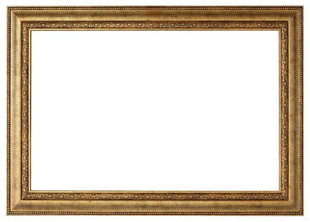 Photo for Gold picture frame. Isolated path and over white background - Royalty Free Image