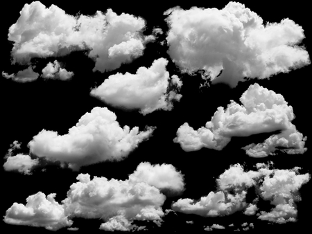 Foto de Set of isolated clouds over black. Design elements - Imagen libre de derechos