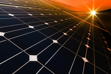 Photo for Power plant using renewable solar energy with sun - Royalty Free Image