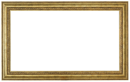 Gold picture frame. Isolated patch and over white background
