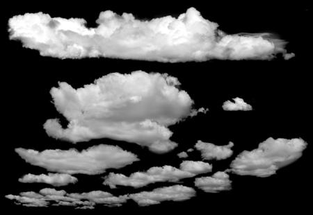 Photo pour Set of isolated clouds over black. Design elements - image libre de droit