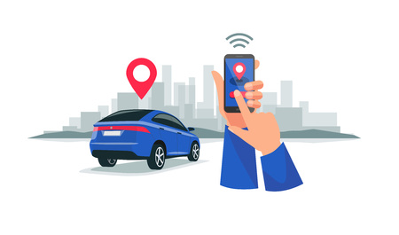 Illustration for Vector illustration of autonomous wireless remote connected car sharing service controlled via smartphone app. Hands holding  phone with location mark of smart electric car in the modern city skyline. - Royalty Free Image
