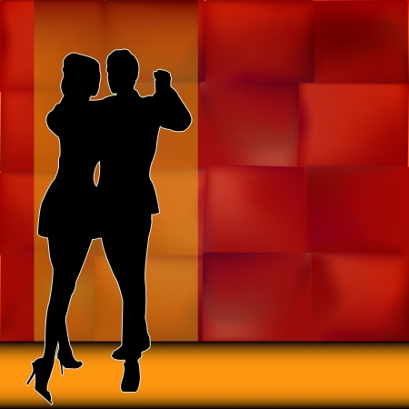 Rumba, Background illustration with a couple of dancers carrying out a Latin American Ballroom Dance
