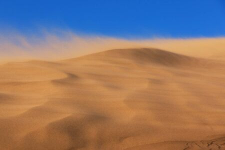 Sandstorm in desert national park Altyn-Emel, Kazakhstan