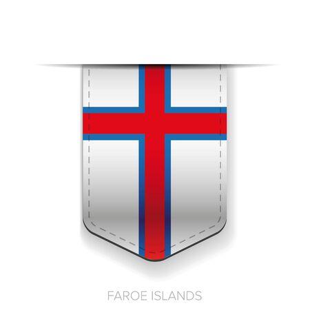 Faroe Islands flag vector ribbon