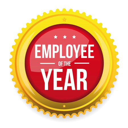 Employee of the year award badge vector