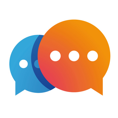 Illustration for Messenger icon chat vector orange. - Royalty Free Image