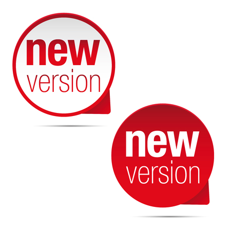 Illustration for New version label red tag vector illustration. - Royalty Free Image