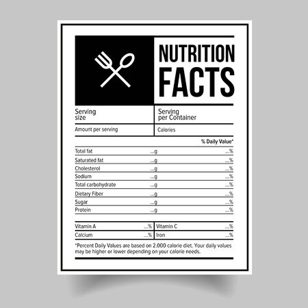 Illustration pour Nutrition Facts food label sticker - image libre de droit