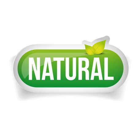 Ilustración de Natural button vector with leaves - Imagen libre de derechos