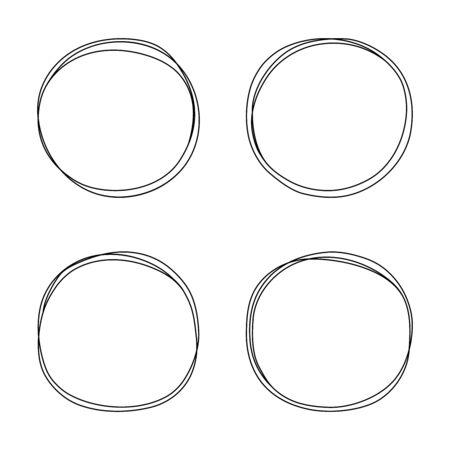 Photo pour Hand drawn line circle set. Circular scribble doodle round circles for message note mark design element. Vector illustration. - image libre de droit