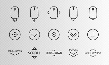 Illustration pour Scroll down icon. Scrolling mouse symbol for web design isolated on transparent background. Modern vector illustration. - image libre de droit