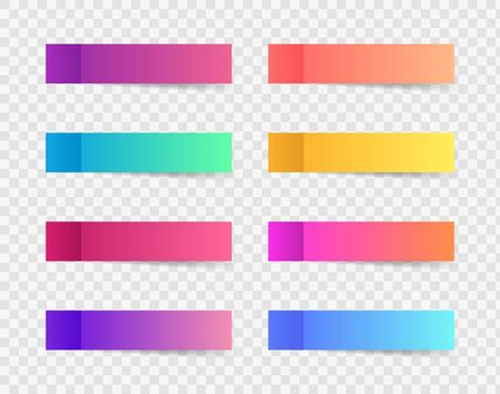 Ilustración de Different colorful post note stickers, vector collection. Sticky tapes with shadow template. Post note paper. Place any text on it. - Imagen libre de derechos