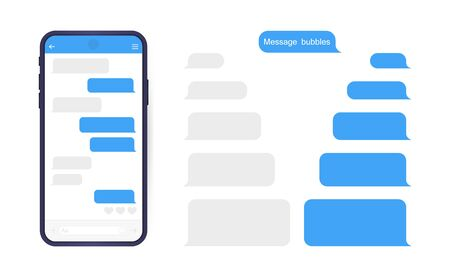 Illustration pour Smart Phone with messenger chat screen. Sms template bubbles for compose dialogues. Modern vector illustration flat style. - image libre de droit