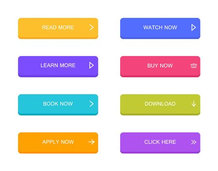 Illustration pour Set of modern material style buttons for website, mobile app and infographic . Different gradient colors. Modern vector illustration flat style. - image libre de droit