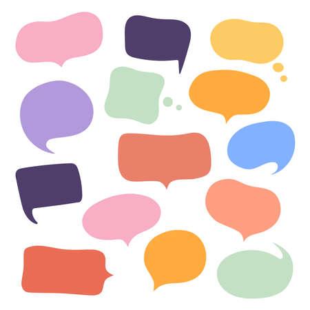 Illustration pour Set different hand-drawn speech bubble. Talk chat speak message. Empty blank comment. Vector illustration design. - image libre de droit