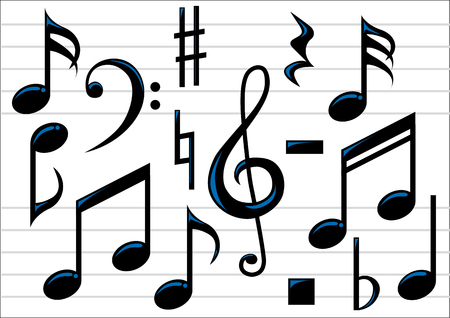 Abstract vector illustration of music notes