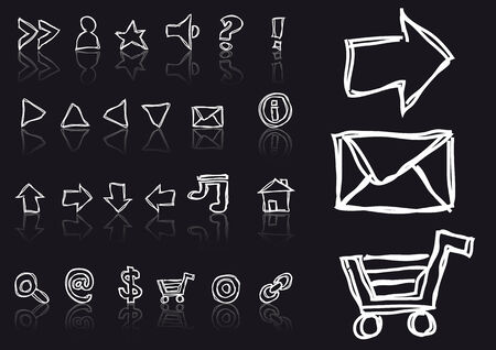 Abstract vector drawing of sketched web icons
