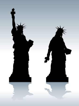 illustration of statue of depressed Liberty silhouette