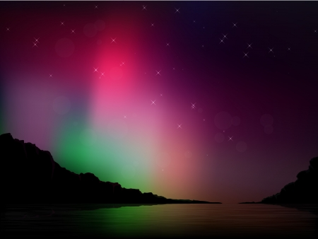 Vector illustration of the northern lights in the sky