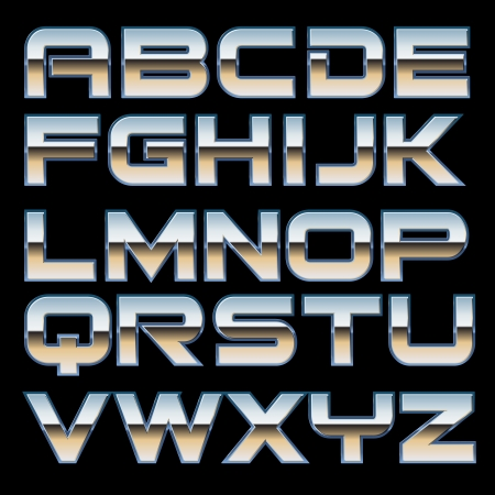 characterset of a metal style font