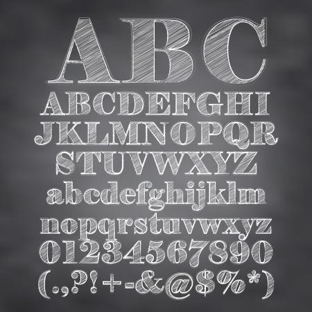 Illustration pour illustration of chalk sketched characters on a blackboard background - image libre de droit