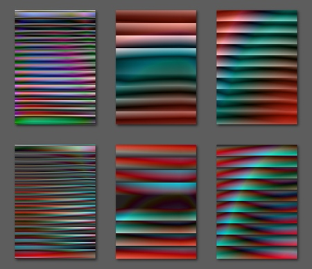 Illustration for Collection isolated gradient vector sheets backgrounds. Set of abstract futuristic multicolor backgrounds with gradients. Applicable for Covers, Placards, Posters, Booklets, Blanks, Cards, Flyers and Banner Designs. A4, vector EPS10. - Royalty Free Image