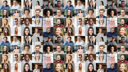 Photo for Video conference concept. Banner, screensaver, collage with a lot of diverse people, multiracial colleagues brainstorming on the distance, a lot of people different generation and nation. Hr database - Royalty Free Image
