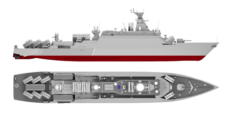 Photo pour warship side view and top view isolated on white. 3d rendering - image libre de droit