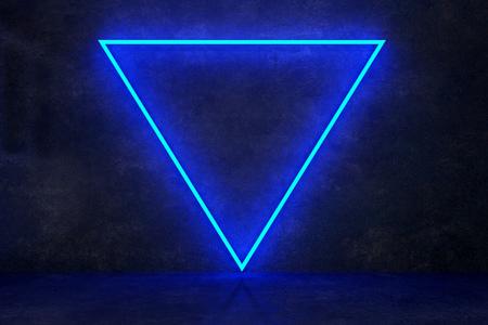 Photo pour neon blue triangle on black concrete wall. 3d rendering - image libre de droit