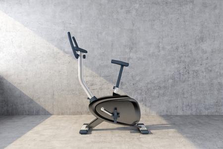 Photo pour exercise bike against a concrete wall. 3d rendering - image libre de droit