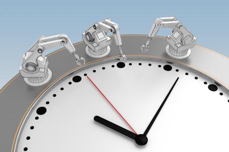 Photo pour concept of working time hands of robots. 3d rendering - image libre de droit