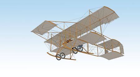 Photo for invention first aircraft isolated on white. 3d rendering - Royalty Free Image
