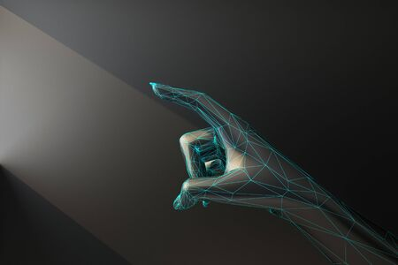 Photo pour black wireframe hand touches ray of light. 3d rendering - image libre de droit