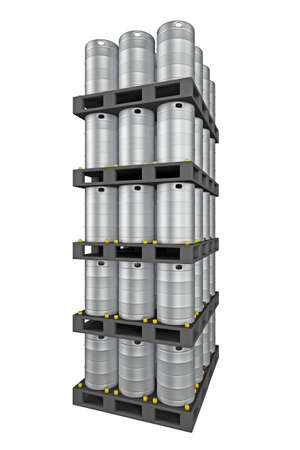 Photo for group of metal kegs isolated on white. 3d rendering - Royalty Free Image