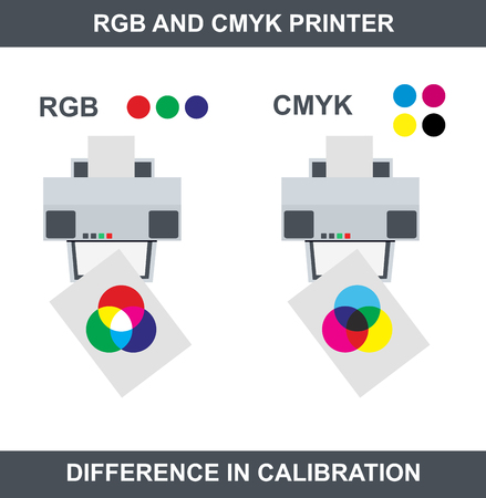 rgb and cmyk printer - the same printers, but difference in calibration. Vector illustration.