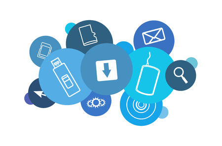 Vector blue cloud comprised of computer and data icons
