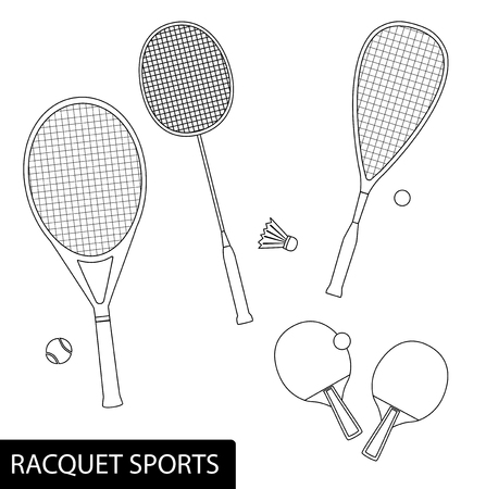 Illustration for Set of racquet sports in outline design - equipment for tennis, table tennis, badminton and squash - rackets and balls. - Royalty Free Image
