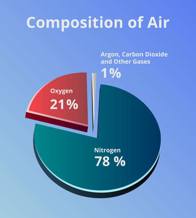 Illustration pour Vector 3D pie chart with the composition of air. Composition of Earth's atmosphere where is 78% of nitrogen, 21% of oxygen, and 1% of other gases such as carbon dioxide and argon on blue background - image libre de droit