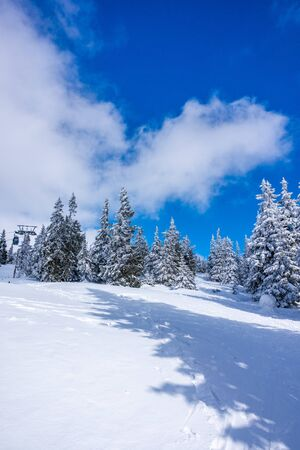 Photo pour Krkonose mountains covered with snow, frozen trees. The highest peak Snezka in the background. Blue sky with white clouds in sunny day in March. - image libre de droit