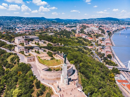 view of geller hill in sunny summer day. hungary budapest