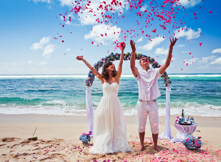 wedding couple just married near the beach at Bali
