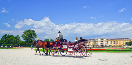Image coach with tourists in the background of an ancient castle in Vienna, Austria.