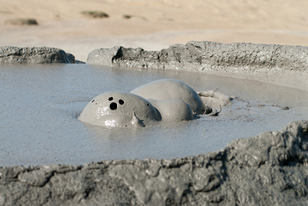 spectacular eruptions of mud volcanoes caused by methane in vulcanii noroiosi near berca village buzau county romania