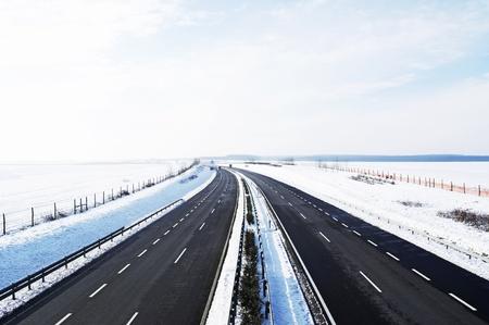 Photo for Four-lane highway in winter at Lake Balaton, Hungary  - Royalty Free Image