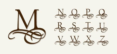 Illustration pour Vintage Set 2. Calligraphic capital letters with curls for Monograms. Beautiful Filigree Font With elements of Arabic calligraphy - image libre de droit