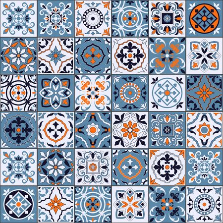Illustration pour Gorgeous seamless pattern in a fashionable color palette Moroccan, Portuguese tiles, Azulejo, ornaments. Can be used for wallpaper, pattern fills, web page background, surface textures. Vector - image libre de droit