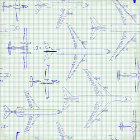 Illustration pour Seamless pattern flying passenger airplanes from different times. airplane drawings on graph vintage paper - image libre de droit